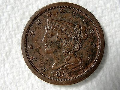 1851 Braided Hair Half Cent Nice High Grade With Some Red