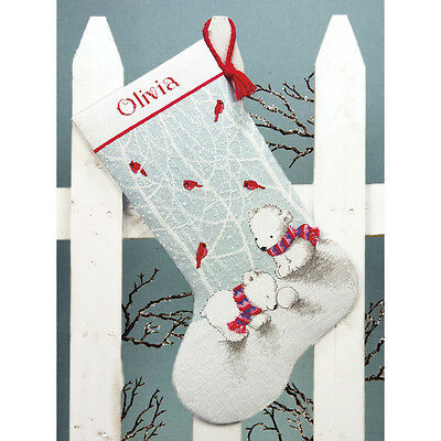 """""""Snow Bears Stocking Counted Cross Stitch Kit-16"""""""" Long 14 Count"""""""