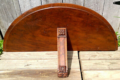 Antique Victorian Wall Console Whatnot Shelf w/Carved Rosette & Burlwood Accents