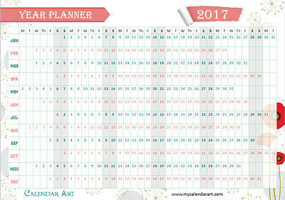 2017 Wall Planner size A2 Poppy Design