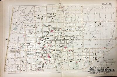 Original 1888 Philadelphia Germantown, Somerville Pa Plat Atlas Map
