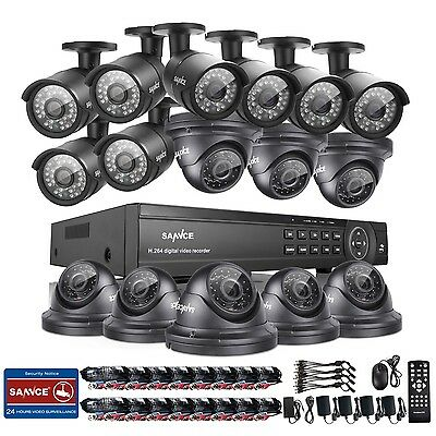 SANNCE 16CH 1080P DVR 2MP Video 16x Surveillance Cameras System Farm Remote View