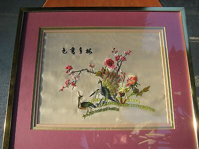 Vintage Framed Silk Embroidered Needlepoint Picture Peacocks Tapestry Wall Art