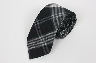 EXPRESS DESIGN STUDIO Skinny Wool Poly Tie. Black & White Plaid. Made in USA