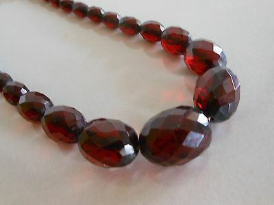 Vtg Faceted Cherry Amber Bakelite Graduated Bead Necklace, Hidden Clasp, Tested