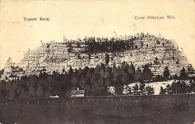 Camp Douglas Wisconsin~Target Rock~House at Bottom~1908 B&W Postcard