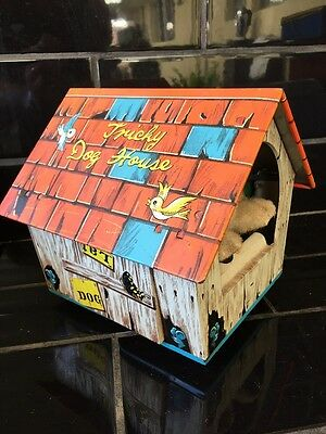 Tricky Dog House Vintage 1960's Japanese Tin Toy Battery Operated