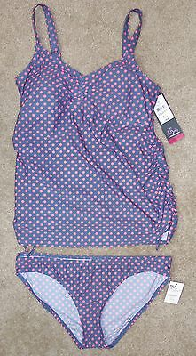 New Oh Baby Motherhood Maternity Swimsuit Large Two-Piece Polka Dot Tankini Suit