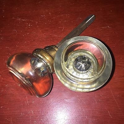 Antique Pair Of Crystal Glass Clear Color. Round Door Knobs With Steel Spindle