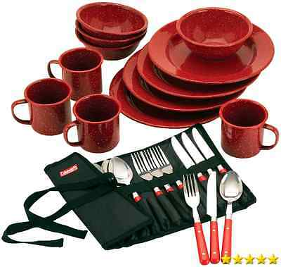 Coleman 24 Piece Enamel Dinnerware Set Camping Picnic Outdoors Dishes Utensils