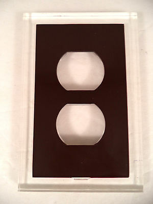 Vintage duplex outlet plate cover clear lucite chocolate brown insert retro 1975