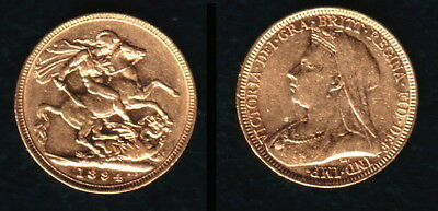A Stellar 1894 England Minted Queen Victoria Veiled Head Gold Sovereign-Lustrous