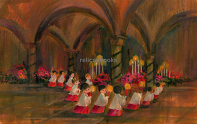 #320 Choir Boys w Candles in the Narthax, Vintage Christmas Card-Greeting