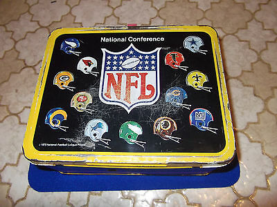 NFL Football Lunchbox Metal 1975 Helmets Thermos Vintage King Seeley