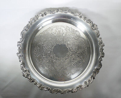 """Antique Theodore B Starr 12"""" Round Deep Footed Serving Tray"""