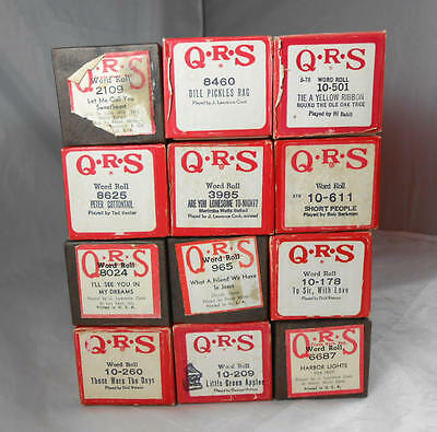 Fantastic LOT of 12 QRS  Classic Player Piano  Word Rolls