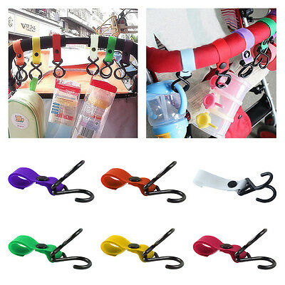 Baby Buggy Pram Pushchair Hanger Stroller Clip 2 Hook Bag Carrier Holder 6Colors