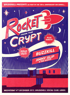 Rocket From The Crypt Brudenell Gig Poster, Red & Purple