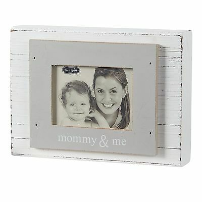 "Mud Pie Mommy and Me Block Frame 3"" x 4"", White and Gray"