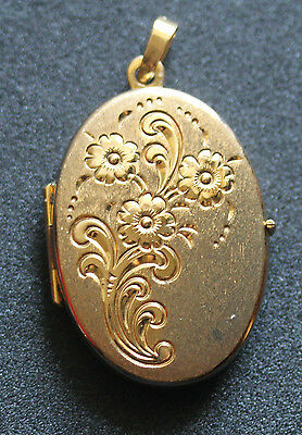 Genuine  Real 9 Ct Solid Yellow Gold Locket  Pendant Engraved  No Scrap