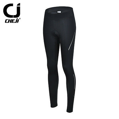 Black CHEJI Mountain Bike Pant Tights Women's Padded Cycling Tights Reflective