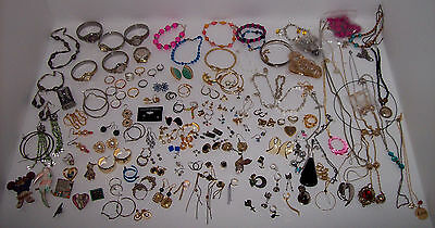 Lot of Mixed Vintage +Modern Costume Jewelry: Watches Necklaces Rings Pins