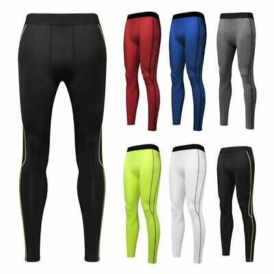 Mens Compression Soft Basketball Long Pants Base Layers Workout Tights Under