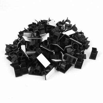 100Pcs Self Adhesive Adjustable Wire Cable Ties Clamp Sticker Clips Black 15.4mm