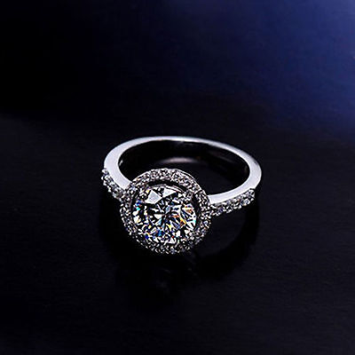 UP Lady 925 Sterling Silver Cubic Zirconia Wedding Engagement Ring Size 6-9