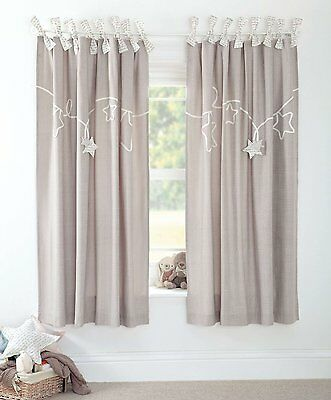 Mamas & Papas - Millie & Boris - Lined Tie Top Curtains - 132 x 160cm