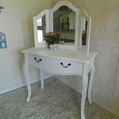 White Dressing Table and Mirror Shabby Vintage Chic French Bedroom Furniture