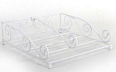 Napkin Holder White Metal Wire Dispenser Tidy Rack Kitchen Home Dining Decor New
