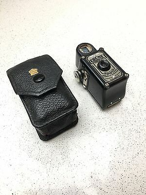 RARE BLACK CORONET MIDGET 16mm BRITISH MADE SPY CAMERA, ORIGINAL BLACK BAG!
