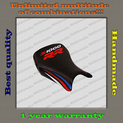 Custom Design Front Seat Cover BMW S1000RR 12-14 black+red-blue-white_strips 001