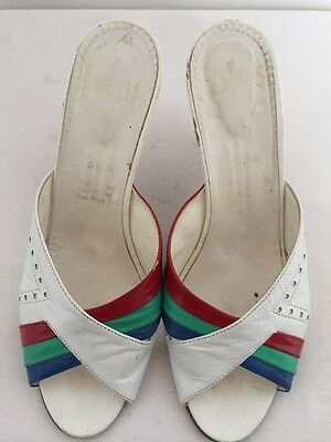 Ladies Vintage Retro White/red/green/blue Leather Mules  Size 5/38 By Lotus
