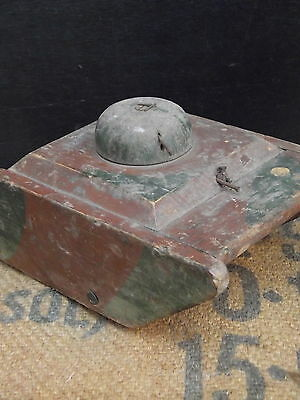 Original WWII Homemade Wooden Toy Tank painted pine old vintage early 1940s