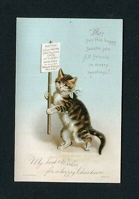 Victorian Christmas Card ,small,Cat with Placard, Pub.HAGELBERG.