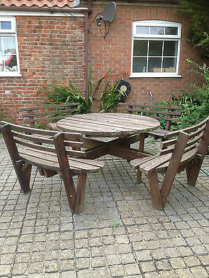8 Seater round Dining Furniture Patio Set Wooden Outdoor Garden Table Chairs