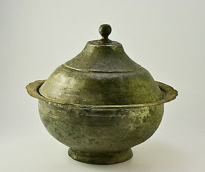 ANTIQUE OTTOMAN EMPIRE COPPER BOWL with LID, HAND FORGED, PRIMITIVE FARM TOOL
