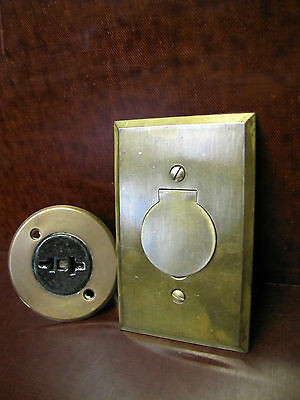 Vintage Floor Flush Mount Brass, Porcelain, Bakelite Plug Receptacle Outlets.
