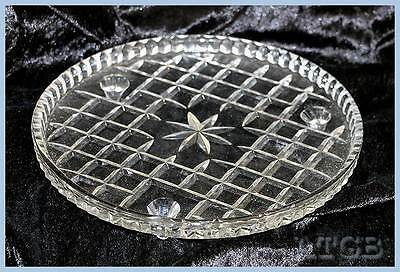 Vintage depression glass 3 footed cake stand plate platter 21.5cm across 3cm tal