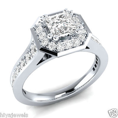 1.10Ct Princess-Cut Delicated Diamond Halo Engagement 14k White Gold Over