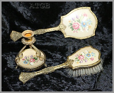 Vintage hand embroidered PETIT POINT vanity set brush mirror candle holder
