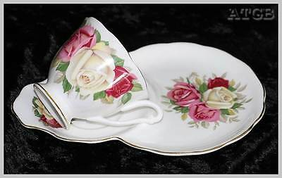 Vintage Queen Anne 1950s mid century pink & yellow rose tennis set cup & plate