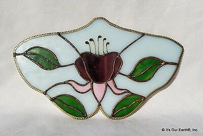LILY PAD * Stained Glass Beautiful Colors Purple Plum Pink Green Grey Excellent