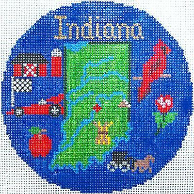 """INDIANA State handpainted 4.25"""" Round Needlepoint Canvas Ornament Silver Needle"""