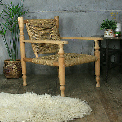 Mid Century Vintage Sisal Rope Woven Chair / Armchair - Charlotte Perriand Style