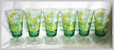 Vintage 1970s set of 6 green glass tall glasses with yellow flowers RETRO