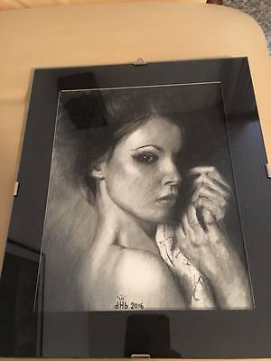 Disegno a carboncino, incorniciato / charcoal portrait drawing, framed
