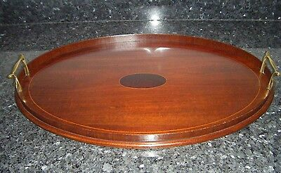 Antique Edwardian inlaid Mahogany tray with brass handles